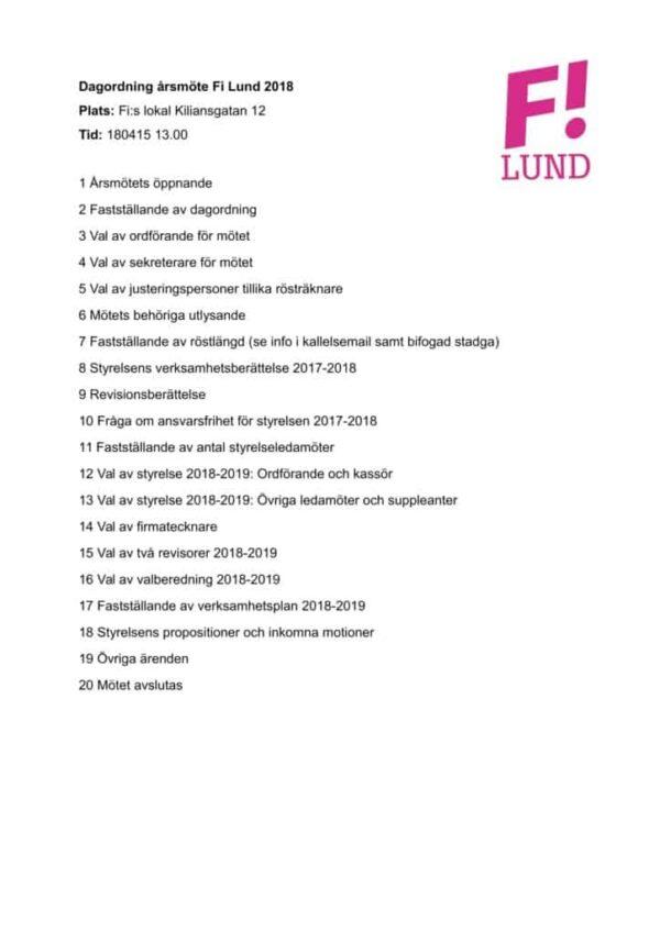 Dagordning årsmöte Fi Lund 2018-15-04
